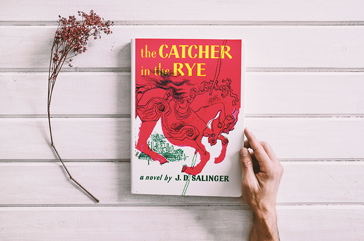 """write a novel - a person holding the book """"the CATCHER in the RYE"""""""