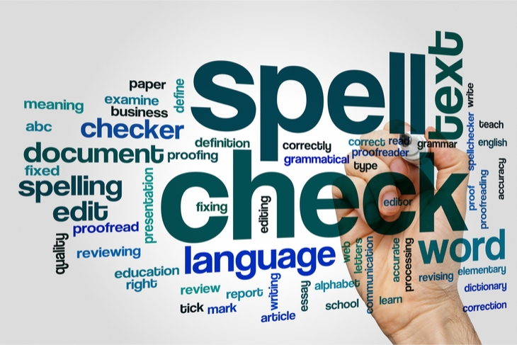 Spell check word concept cloud background - Content Proofreading, Content Marketing, Blogging