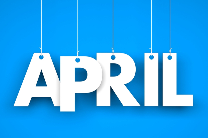 APRIL letters hanging on threads - Content Marketing Ideas April - Scatter