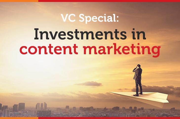 content marketing investment landscape - a businessman riding on a paper plane