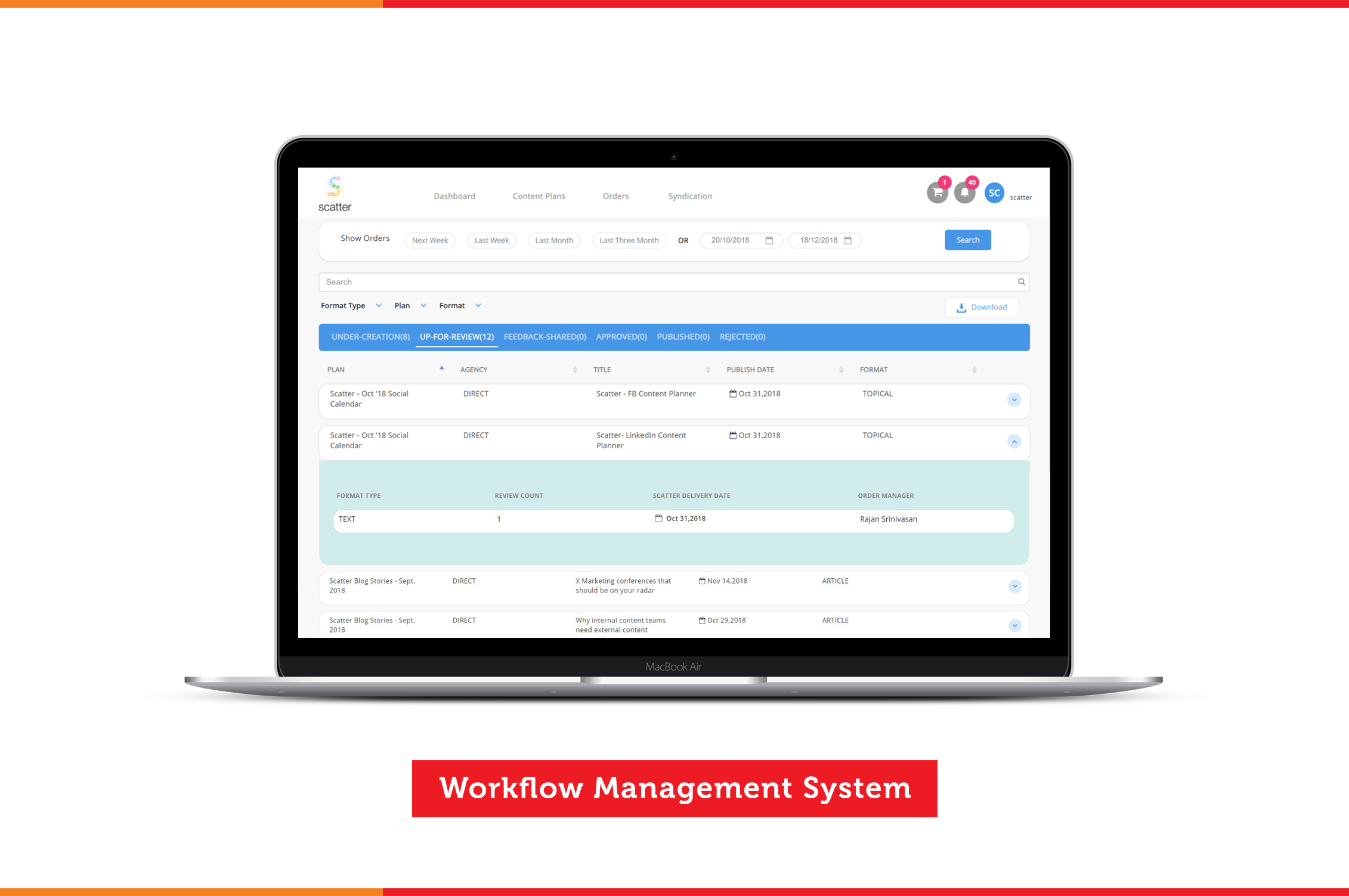 workflow management - open laptop with scatter's workflow management system website open