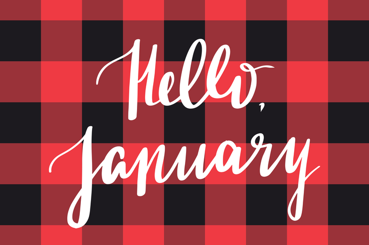 Hello January on plaid as cover image content calendar