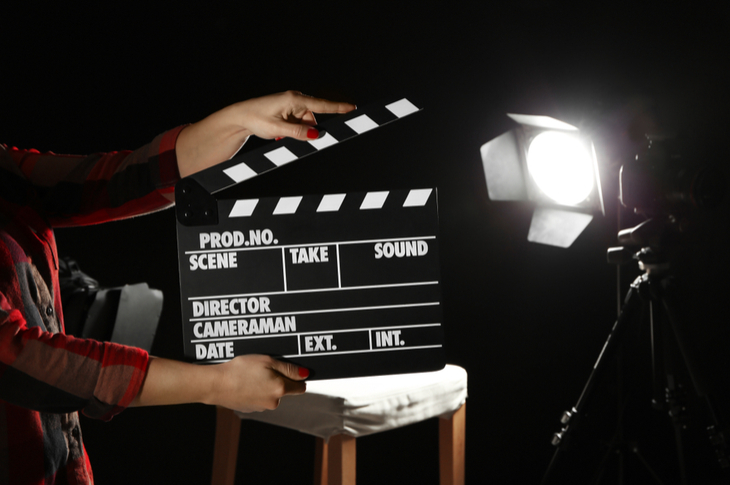 film clapper that depicts branded videos