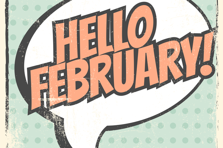 speech bubble art introducing February content calendar