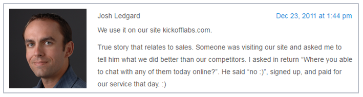 competitive advantage offered by live chat