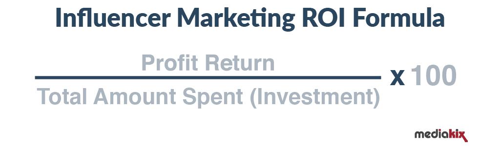 Formula to measure influencer marketing ROI