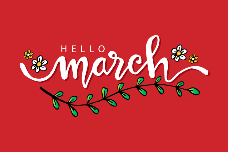 Red Illustration saying 'Hello March' decorated with flowers and vines
