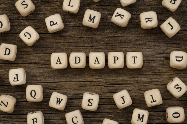 Adaptive content indicated through letters arranged to spell adapt