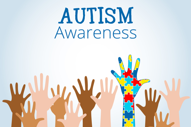 A set of arms depicting Autism Awareness day. Featured in content marketing ideas for April content calendar