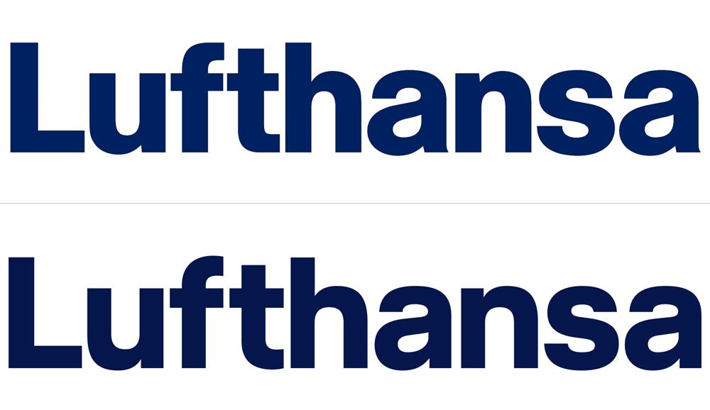 Lufthansa changed brand logo typeface