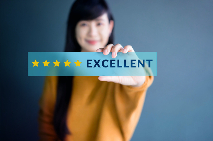 User Generated Content Concept - Happy Woman show excellent rating with 5 star icon