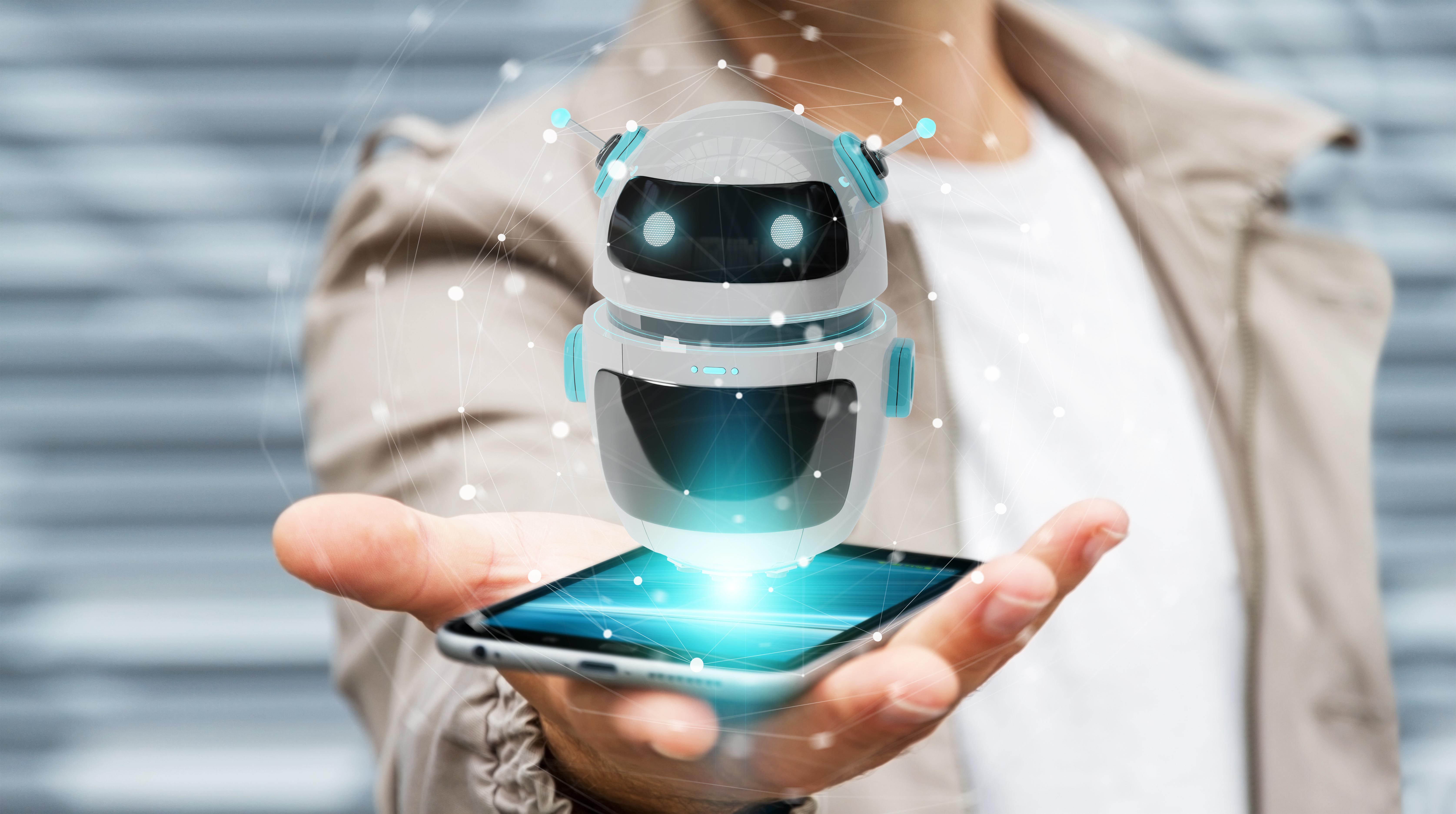 Chatbots - Businessman on blurred background using digital chatbot robot application 3D rendering - Scatter