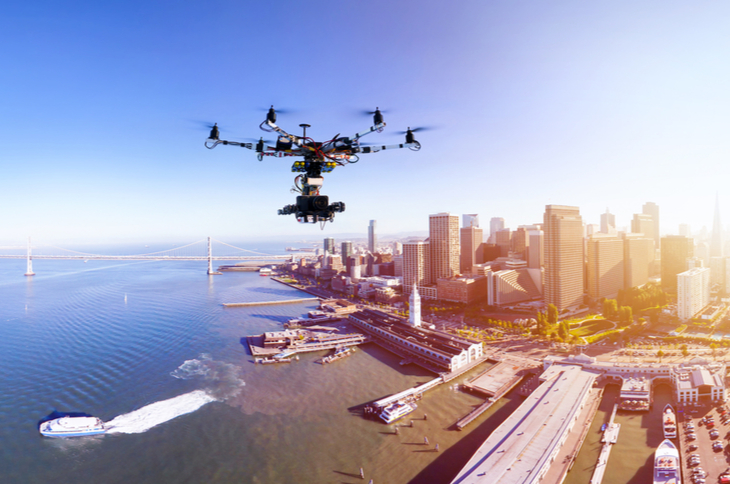 Drones - Professional photography drone with the cinema camera flying over San-Francisco pears and the financial district at the summer sunset - Scatter